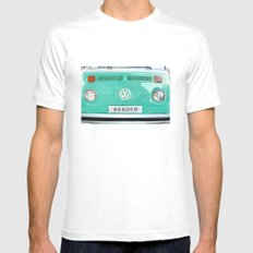 Wander wolkswagen. Summer dreams. Green Mens Fitted Tee White SMALL