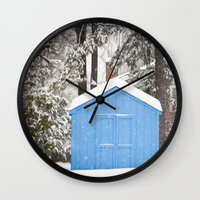 Blue Snow House  Wall Clock