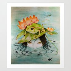 The Girl Who Kisses Frogs Art Print