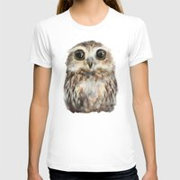 Little Owl Womens Fitted Tee White SMALL
