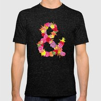 Flower Ampersand Mens Fitted Tee Tri-Black SMALL
