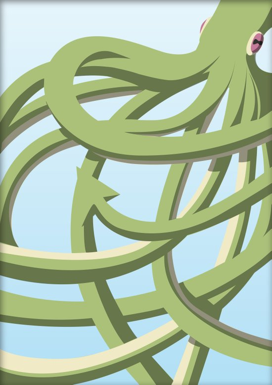 Octopus green Art Print
