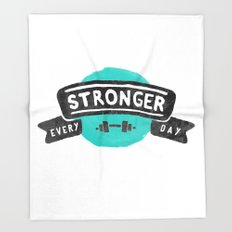 Stronger Every Day (dumbbell) Throw Blanket