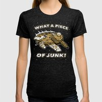 What A Piece Of Junk! Womens Fitted Tee Tri-Black SMALL