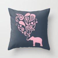 Pink Grey Paisley Elepha… Throw Pillow