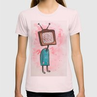 TV Head Womens Fitted Tee Light Pink SMALL