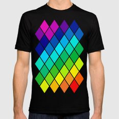 Tetrahedral Rainbow SMALL Black Mens Fitted Tee