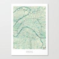 Paris Map Blue Vintage Canvas Print