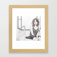 Closed Eyes - Woman Dotw… Framed Art Print