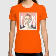 FUCKLOVE Womens Fitted Tee Orange SMALL