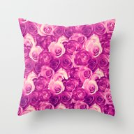 Roses Carpet In Vintage … Throw Pillow