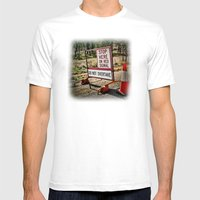 Stop on the red light - roadworks sign. Mens Fitted Tee White SMALL