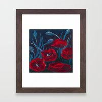 Crimson Poppies Framed Art Print