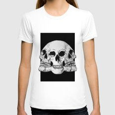 Threesome Skull - Black version Womens Fitted Tee White SMALL