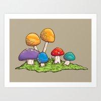 Mushrooms (Colors) Art Print