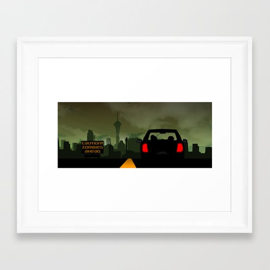 Caution Zombies Ahead Framed Art Print