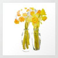 Daffodils Watercolor Art Print
