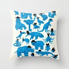 Blue Animals Black Hats Throw Pillow