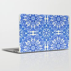Cobalt Blue & China White Folk Art Pattern Laptop & iPad Skin
