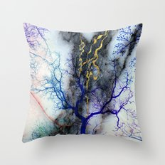 Marble through Tree Branches Red Gold Blue Violet Purple Cyan Throw Pillow