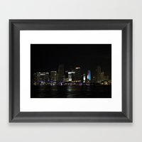 Miami Skyline At Night Framed Art Print