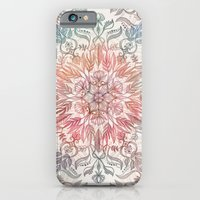 iPhone Cases featuring Autumn Spice Mandala in Coral, Cream and Rose by micklyn