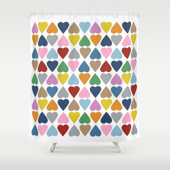 Diamond Hearts Repeat Shower Curtain