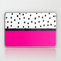 Handdrawn neon pink black watercolor polka dots Laptop & iPad Skin
