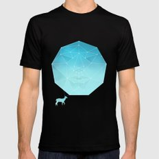 Deer god SMALL Black Mens Fitted Tee