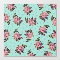 Pink Roses On Blue Canvas Print