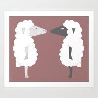 White Sheep Meets Black … Art Print