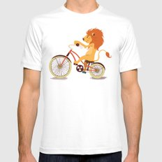 Lion on the bike SMALL Mens Fitted Tee White