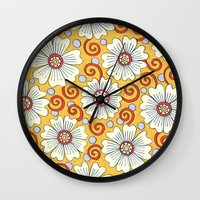 Yellow Ochre Floral Wall Clock