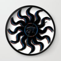 Blue and Orange Egyptian Sun Wall Clock
