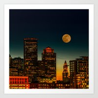 Boston Pink  Moon  Art Print