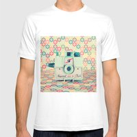 Film Mint Camera on a Colourful Retro Background  Mens Fitted Tee White SMALL