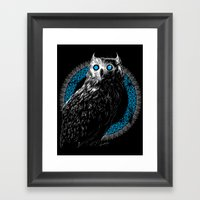 Midnight Owl - Teal Framed Art Print
