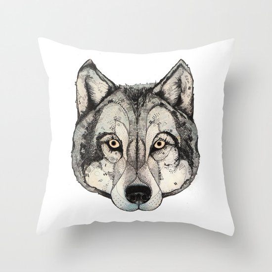 Wolf Mask Throw Pillow