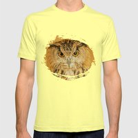 OWL RIGHT ON THE NIGHT Mens Fitted Tee Lemon SMALL