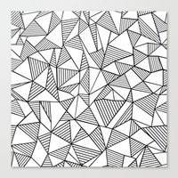 Abstraction Lines Black on White Canvas Print