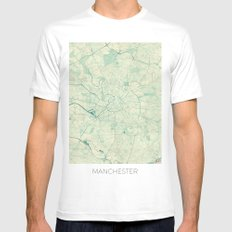 Manchester Map Blue Vintage Mens Fitted Tee White SMALL