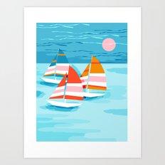 Popin - memphis sports retro throwback neon sailing sailboat cool rad gnarly trendy watersports Art Print