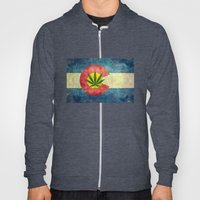 Retro Colorado State flag with the leaf - Marijuana leaf that is! Hoody