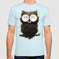 Hoot! Night Owl! Mens Fitted Tee Light Blue SMALL