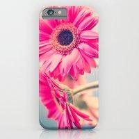 Acid Tongue, Pink Flower on Blue  iPhone 6 Slim Case