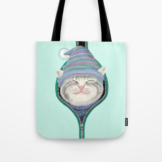 Cat in the zip Tote Bag