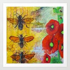 Hollyhocks and Honey Art Print