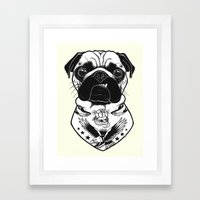 Tattooed Dog - Pug Framed Art Print