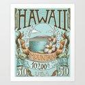 Hawaii Vintage Postage Stamp Art Print