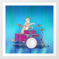 Cat Playing Drums - Blue Art Print